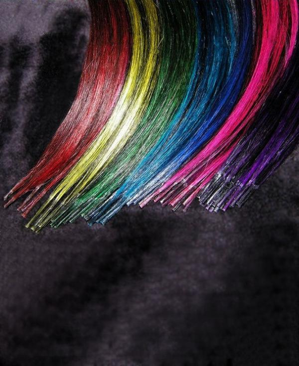 Bicolor Rundbonding Extensions Crazy-Black  5 Stk in 40cm
