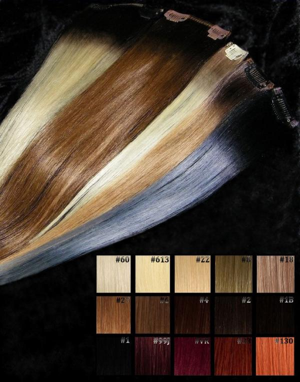 Dark Roots Echthaar Clip Extensions 50x20cm