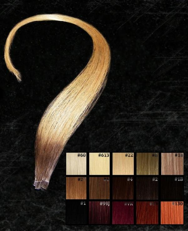 Dark Roots Ombre Flachbonding Extensions  5 Stk in 40cm
