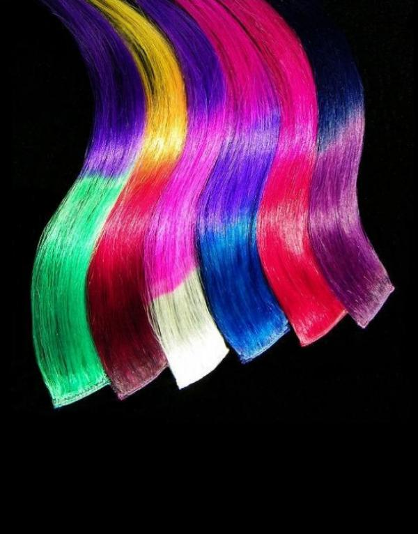 Dip Dyed Hair Clip-in-Extensions multicolor 60x04